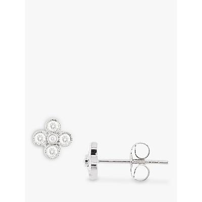 EWA 18ct White Gold Diamond Millgrain Stud Earrings, White Gold