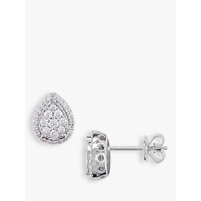 EWA 18ct White Gold Pear-Shaped Diamond Cluster Stud Earrings, White Gold