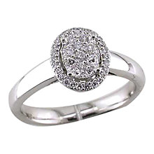 Buy EWA 18ct White Gold Diamond Oval Cluster, Ring Online at johnlewis.com