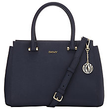 Buy DKNY Bryant Park Large Leather Satchel Bag, Ink Online at johnlewis.com