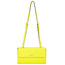 Buy Bryant Park Double Flap Leather Shoulder Bag, Yellow Online at johnlewis.com