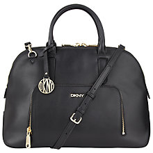 Buy DKNY Greenwich Shiny Calf Leather Satchel, Black Online at johnlewis.com