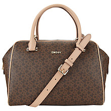 Buy DKNY Heritage Coated Logo with Vachetta Satchel Bag, Brown Online at johnlewis.com