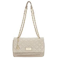 Buy DKNY Gansevoort Quilted Leather Flapover Pocket Shoulder Bag, Cement Online at johnlewis.com