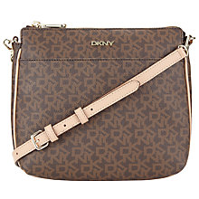 Buy DKNY Heritage Coated Logo with Vachetta Across Body Bag, Brown Online at johnlewis.com