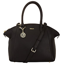 Buy DKNY Tribeca Leather Top Zip Satchel, Black Online at johnlewis.com