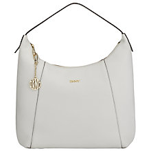 Buy DKNY Tribeca Leather Large Hobo Bag, White Online at johnlewis.com