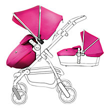 Buy Silver Cross Chrome Pioneer Pushchair Seat, Chassis and Carrycot and Raspberry/Chrome Essentials Pack, with Simplicity Infant Carrier Online at johnlewis.com