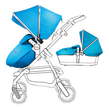 Buy Silver Cross Chrome Pioneer Pushchair Seat, Chassis and Carrycot and Sky Blue/Chrome Essentials Pack, with Simplicity Infant Carrier Online at johnlewis.com