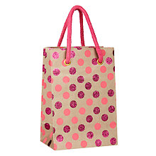 Buy Vivid Kraft Pink Glitter Spotted Gift Bag, Small Online at johnlewis.com
