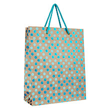 Buy Vivid Kraft Turquoise Glitter Spotted Gift Bag, Large Online at johnlewis.com
