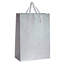 Buy John Lewis Flitter Flower Gift Bag, Large, Silver Online at johnlewis.com