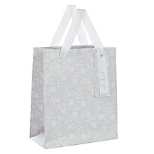 Buy John Lewis Flitter Flower Gift Bag, Small, Silver Online at johnlewis.com