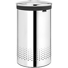 Buy Brabantia Steel Lid Laundry Bin, Brilliant Steel, 60L Online at johnlewis.com