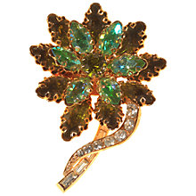 Buy Alice Joseph Vintage 1950s Diamante Flower Brooch, Green Online at johnlewis.com