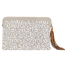 Buy Jigsaw Beaded Flower Clutch Bag, Neutral Online at johnlewis.com