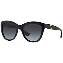 Buy Dolce & Gabbana DG6087 Cat's Eye Framed Sunglasses, Black Online at johnlewis.com