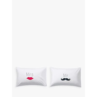 John Lewis Mr & Mrs Standard Pillowcases, Pair