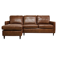 Buy John Lewis Dalston Semi-Aniline Leather LHF Chaise End Sofa, Earth Bronx Online at johnlewis.com