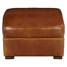 Buy John Lewis Clifford Aniline Leather Footstool, Coffee Online at johnlewis.com