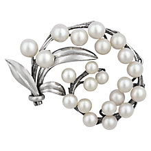 Buy Sharon Mills Vintage Pearl Leaves Brooch, Silver Online at johnlewis.com