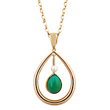 Buy Sharon Mills Vintage 1987 9ct Gold Turquoise Pearl Necklace, Gold/Green Online at johnlewis.com