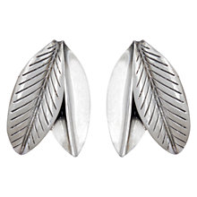 Buy Sharon Mills Vintage Anton Michelsen Double Leaf Earrings, Silver Online at johnlewis.com