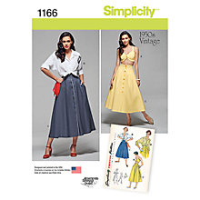 Buy Simplicity Women's 1950s Vintage Sewing Pattern, 1166 Online at johnlewis.com