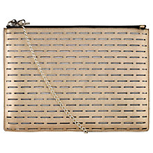 Buy Whistles Rivington Laser Leather Chain Clutch Bag, Gold Online at johnlewis.com