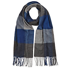 Buy John Lewis Cashmink Large Check Scarf, Blue/Grey Online at johnlewis.com