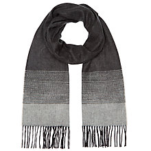 Buy John Lewis Graduated Stripe Cashmink Scarf, Black Online at johnlewis.com
