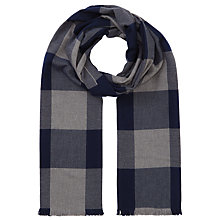 Buy John Lewis Square Check Cotton Scarf, Navy Online at johnlewis.com
