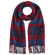 Buy John Lewis Wool Check Scarf, Blue/Red Online at johnlewis.com