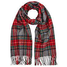 Buy John Lewis Tartan Check Wool Scarf, Red/Grey Online at johnlewis.com