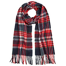 Buy John Lewis Base Check Wool Scarf, Navy/Red Online at johnlewis.com
