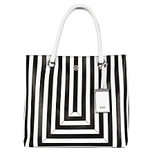 Buy Karen Millen Stripe Large Tote Bag, Black / White Online at johnlewis.com