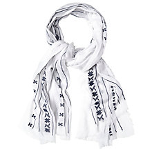 Buy White Stuff Embroidered Fringe Scarf, Off White Online at johnlewis.com