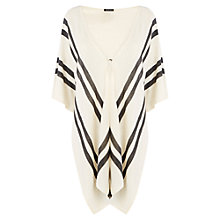 Buy Warehouse Button Detail Cape, Cream Stripe Online at johnlewis.com