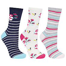 Buy John Lewis Floral Stripe Ankle Socks, Multi, Pack of 3 Online at johnlewis.com