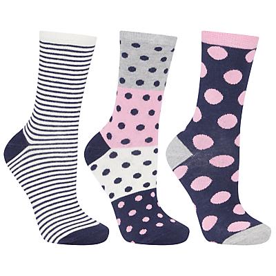 John Lewis Stripe Spot Ankle Socks, Pack of 3, Multi