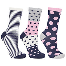 Buy John Lewis Stripe Spot Ankle Socks, Pack of 3, Multi Online at johnlewis.com