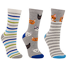 Buy John Lewis Cat Stripe Ankle Socks, Multi, Pack of 3 Online at johnlewis.com
