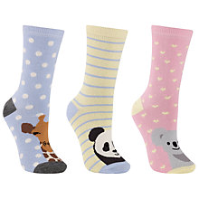 Buy John Lewis Wild Animal Socks, Multi, Pack of 3 Online at johnlewis.com
