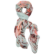Buy Chesca Flower Print Scarf, Mint/Coral Online at johnlewis.com