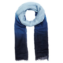 Buy Jigsaw Linen Dip Dye Scarf, Blue Online at johnlewis.com