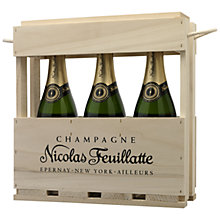 Buy Nicolas Feuillatte, Wooden Gift Box Champagne Gift Set of 3 Online at johnlewis.com