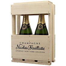Buy Nicolas Feuillatte, Wooden Gift Box Champagne Gift Set of 2 Online at johnlewis.com
