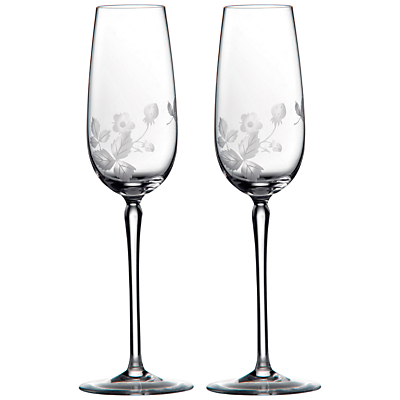 Wedgwood Wild Strawberry Crystal Champagne Flutes, Set of 2