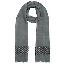 Buy John Lewis Silk Mix Chevron Embroidered Scarf, Charcoal Online at johnlewis.com