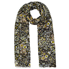 Buy John Lewis Hampton Floral Print Scarf, Black Online at johnlewis.com